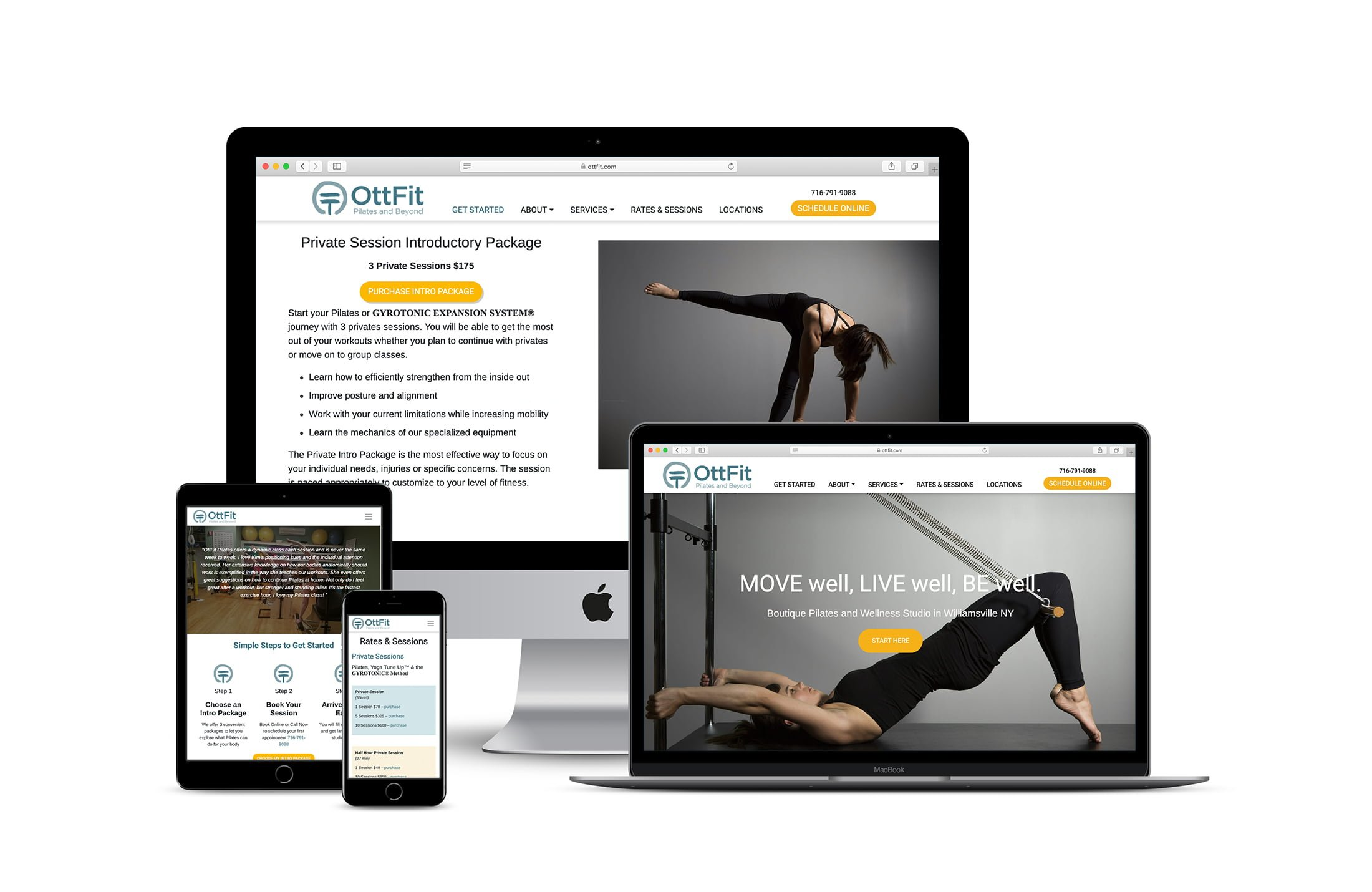 responsive website design for a pilates studio